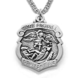 TrueFaithJewelry Sterling Silver Patron of Police Officers Saint Michael Shield Pendant, 3/4 Inch