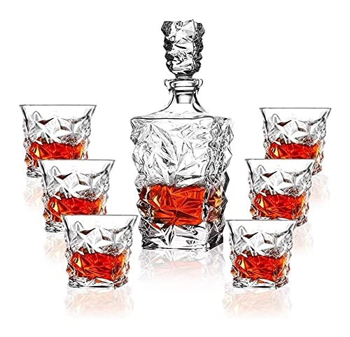 N&G Daily Equipment Premium Whiskey Decanter Set Lead Free Set of 4 Sophisticated for Whisky Scotch Bourbon Rum in A