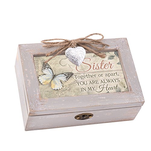 Cottage Garden Sister Always Heart Natural Taupe Wood Locket Petite Music Box Plays Wonderful World