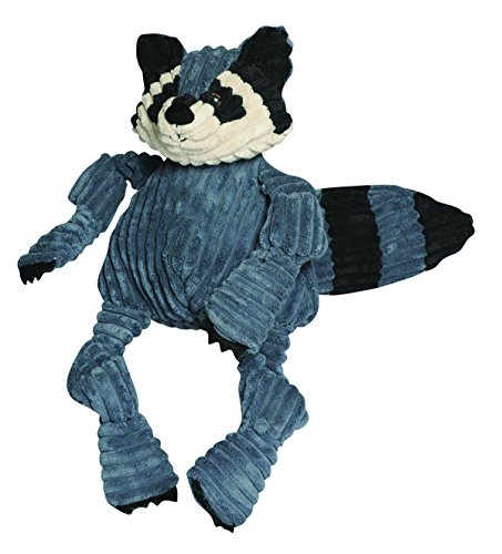 HuggleHounds Plush Corduroy Durable Squeaky Knottie, Dog Toy, Great Dog Toys for Aggressive Chewers, Raccoon, Small