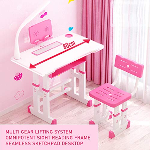 Kids Desk and Chair Set, Height Adjustable Kids Table and Chair Set, Home School Use Anti-Reflective Children Study Table with LED Light/Reading Board/Pull-Out Drawer (80x40cm, Liftable Pink)