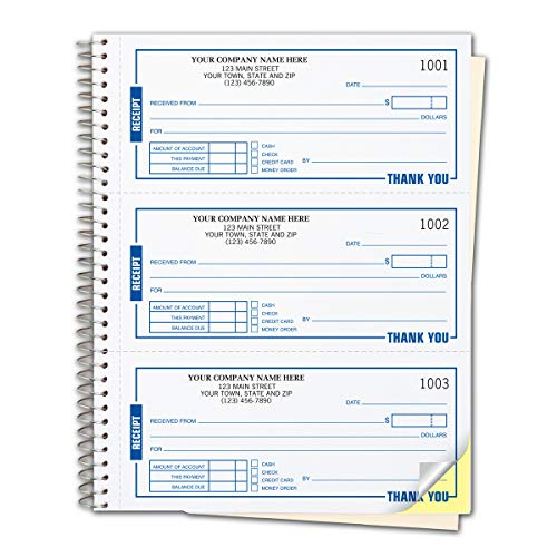 CheckSimple Payment Receipt Forms - Customized 3-Per-Page Wire-Bound Book, 2-Part, White (500 Receipts)