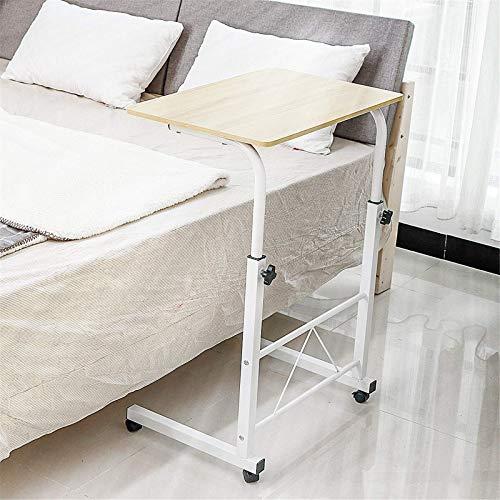 QFWM Mesa de noche para ordenador de altura ajustable de madera con sistema de frenos, escritorio de trabajo de oficina (tamaño pequeño; color: blanco)