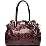 FEIMINA Womens Genuine Leather Handbag Shoulder Tote Crossbody Bag Designer Handle Satchel Purses (wine red)