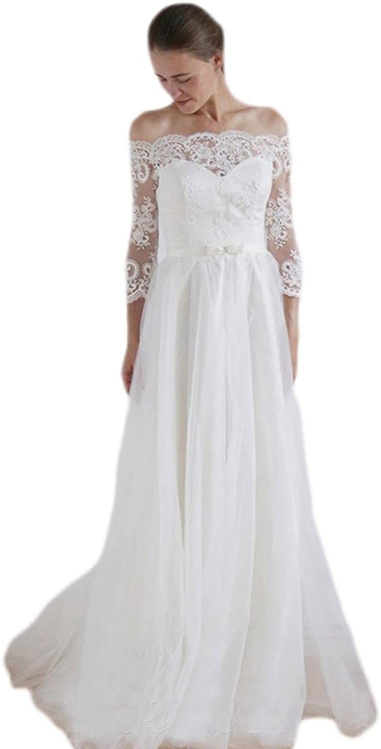LiBridal Women's Off The Shoulder Lace Wedding Dress for Bride with 3 4 Sleeves Beach Bridal Gowns