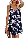 Yidarton Women Summer V Neck Sleeveless Mini Dresses Strap Boho Floral Backless Beach Holiday Party Sundress(L, B-Blue)