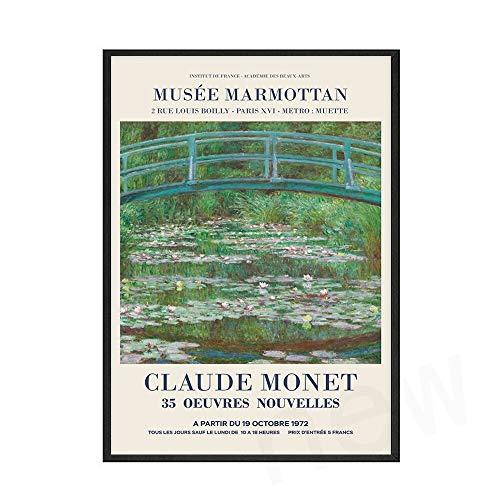 Arte de pared de Monet, lienzo impreso, pintura de flores abstractas, póster, imagen de familia nórdica, lienzo decorativo sin marco, pintura B 70x100cm
