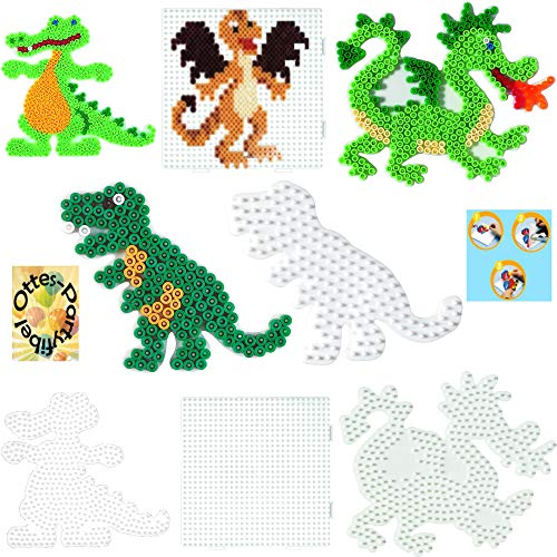 HAMA Bügelperlen-Bastel-Set midi-Stift-Platten-Set midi Krokodil + Drache+ Dinosaurier + großes Quadrat #17