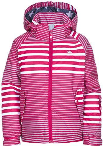 Trespass Oakle, Raspberry/White/Platinum Print, 9/10, Warme Gepolsterte Wasserdichte Skijacke mit abnehmbarer Kapuze, Skipasstasche & Schneeefang für Kinder, 9-10 Jahre, Grau