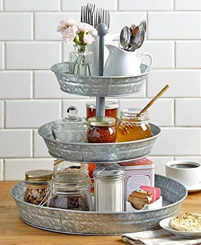 new arrival Versatile sale Vintage 2021 Rustic Country Farmhouse Galvanized 3 Tier Serving Tray By SkyMall outlet online sale