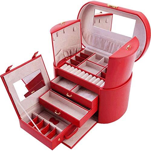 CMXUHUI Exquisito, a la moda, generoso, digno de posses joyero de cuero sintético organizador de joyería vintage caja de regalo bolsa de viaje collar anillo regalo de cumpleaños boda caja de joyería