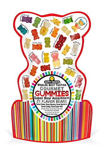 Happy Yummies Worlds Best Tasting Gourmet Gummy Candy 21 Flavor Super Bear Assortment 14oz (1 Pack)