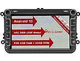 M.I.C. AV8V6 Android 10 Autoradio mit navi Ersatz für VW Golf t5 touran Passat RNS RCD Skoda SEAT: DAB Plus Bluetooth 5.0 WiFi 2din 8' IPS Panzerglas Bildschirm 4G+64G USB Rückfahrkamera europakarte