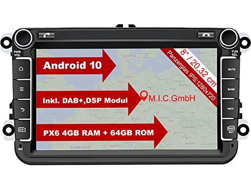 "M.I.C. AV8V6 Android 10 Autoradio mit navi Ersatz für VW Golf t5 touran Passat RNS RCD Skoda SEAT: DAB Plus Bluetooth 5.0 WiFi 2din 8\"" IPS Panzerglas Bildschirm 4G+64G USB Rückfahrkamera europakarte"