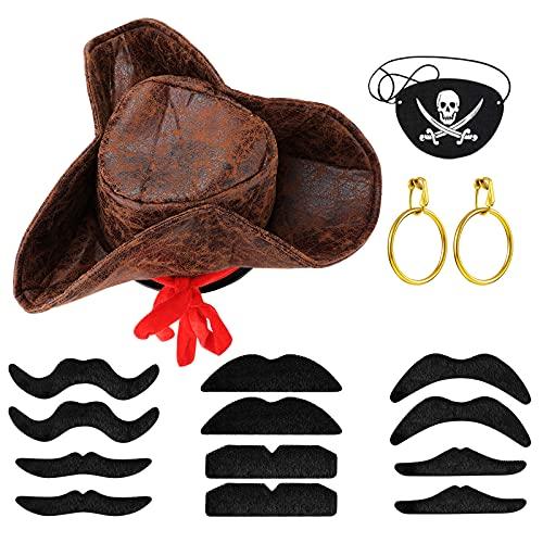 Set de 15 Disfraces de Pirata Accesorio de Disfraz de Pirata Incluyir Sombrero de Pirata Parche de Ojo de Pirata Pendientes Dorados de Pirata Bigote Falso de Pirata para Fiesta de Halloween