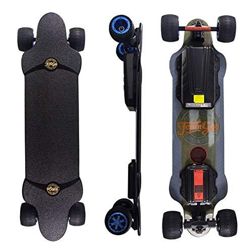 Teamgee H20T Skateboard Elettrico Longboard da 965mm con Telecomando Senza fili Bluetooth Pneumatici in gomma Ruote per Adolescenti e Adulti,42KPH Velocità Massima,Motori Mozzo 1200 W
