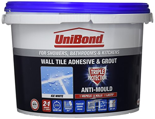 UniBond Triple Protect Anti-Mould Wall Tile Adhesive and Grout - 3.2KG, White