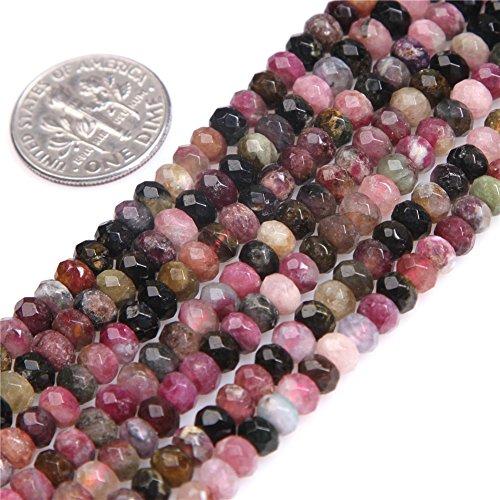 Joe Foreman - Cuentas de turmalina multicolores para hacer joyas, piedras naturales semipreciosas, espaciador facetado de 3 x 4 mm, 38 cm