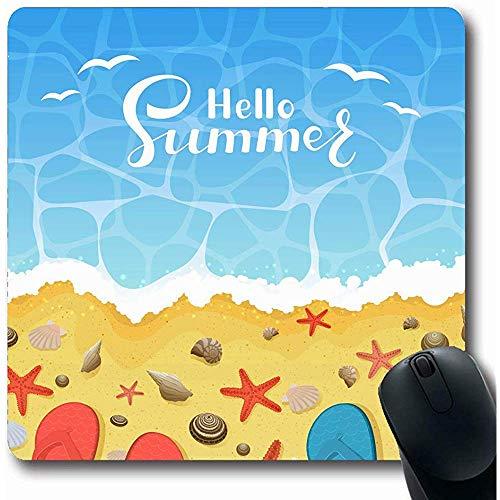 Mousepads für Computer Spark Blue Sommer Flipflops Seesterne Muscheln Am Flip Beach Natur Red Coast Day Exotisches Design Längliche Form Rutschfeste Längliche Gaming Mausunterlage 30X25CM