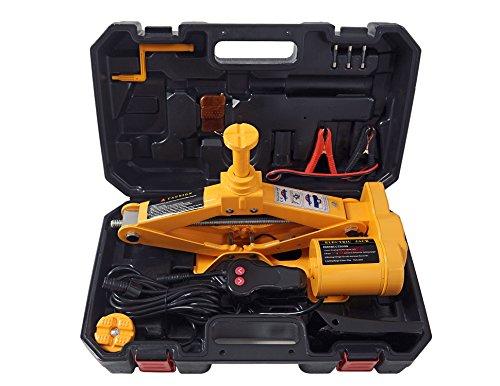 YASI MFG elektrische krik, 12 V, 750 kg, hefvermogen voor auto's tot 2 ton, hefhoogte 12,5-42 cm, dubbele koppen schaarkrik Universal geel
