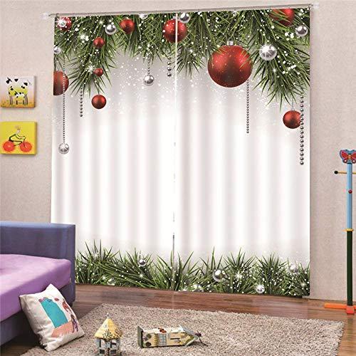 Cortinas Opacas Térmicas Aislantes Navidad Tela De Poliéster Cortina Lavable para Dormitorio Y Salón Habitación Decoración Hogar (140x160cm)