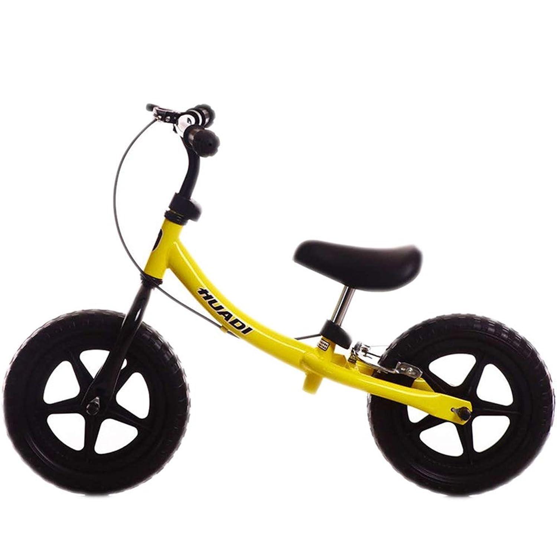 バランスバイク 子供用バランスバイク - 2?6年間ペダルなしのハンドブレーキ付き男の子&女の子用自転車、調整可能なスーパーソフトサドル&12インチ非空気式タイヤ (Color : Yellow)