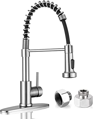 Kitchen Sink Faucets, Kitchen faucets with Pull Down Sprayer WEWE sus304 Stainless Steel Brushed Nickel Single Handle Single Hole Faucet for Farmhouse rv bar Laundry Sinks with Adapter
