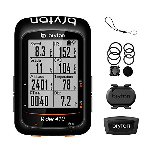 "Bryton Rider 410T GPS Bike Computer (2.3"" Display, Bundle with Cadence + HRM), ANT+/BLE sensors (Cadence/HRM), ANT+ Power Meter Support. 5 Satellite Systems Support. 35hr Long Battery Life."