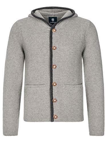 ALMBOCK Trachten Jacke Herren grau - Trachtenjacke mit Kapuze aus flauschiger und atmungsaktiver Lammwolle - Trachten Jacke Herren - Trachtenweste 54