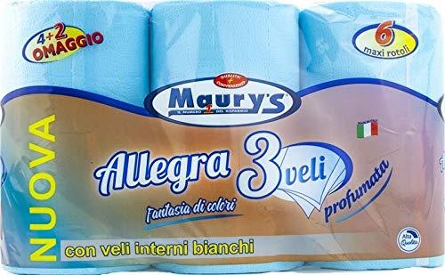 Maury's Carta Igienica 6 Maxi Rotoli 3 Veli Celeste Colorata Profumata Blu Delicata Soffice e Profumata