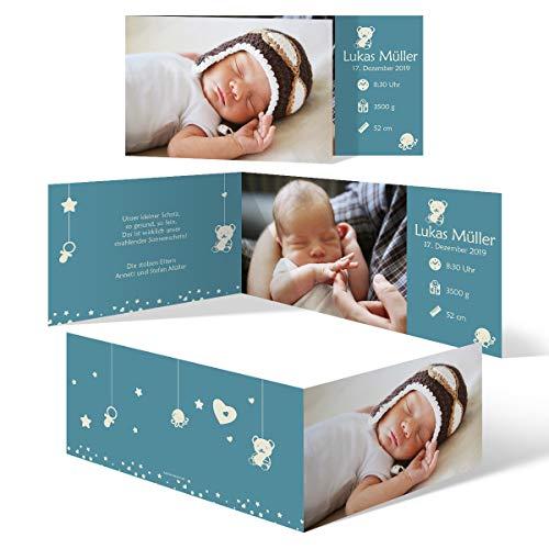 30 x Geburt Danksagungskarten Geburtskarten individuell mit Foto und Text für Mädchen und Jungen - Tiefer Schlaf