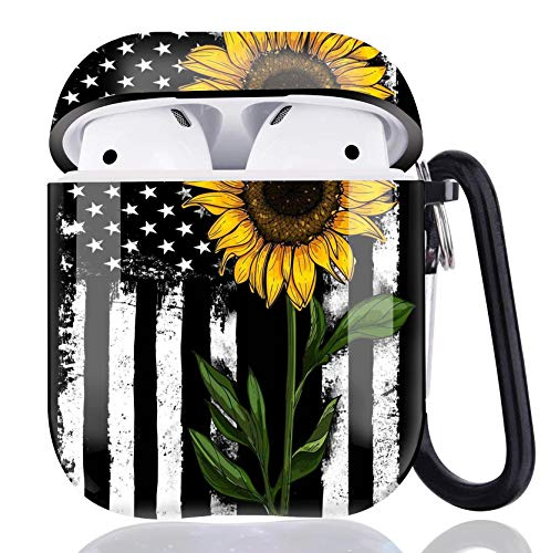 Sunflower Flag Airpods Case Cover,Flexible Airpods Accessories Compatible with Apple Airpods 1st/2nd,Shockproof Protective TPU Case Cover for Girls Boys Women Men with Keychain/Strap