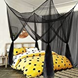 Mesh Bed Canopy Black Canopy Bed Frame Queen Canopy Bed Tents for Girls Canopy Poles for Toddler Bed, King Twin Full Size Canopy Bed for Adults Bedroom Kids Room Camping Lights Screen Netting Curtains
