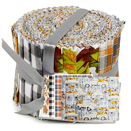 Autumn Fall Theme Jelly Roll Cotton Fabric 20 Strips 2.5''x 42