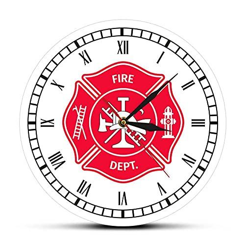 Reloj De Acrílico 30cm Reloj de Pared Retro con Cruz de Malta de Bombero, Reloj de decoración del Departamento de Bomberos de Primera Respuesta con números Romanos, Regalos para Bomberos