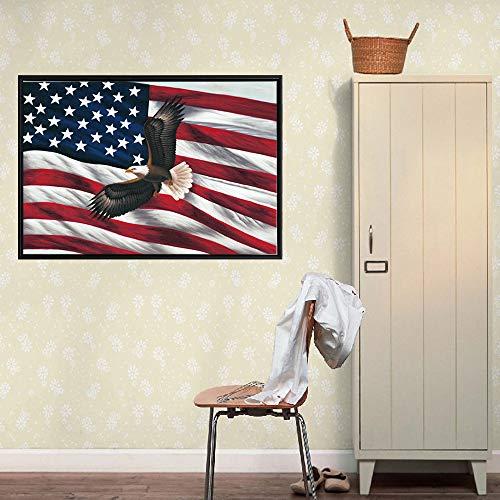 YuanMinglu Poster Wandkunst amerikanische Flagge Adler Flagge Moderne Wohnkultur Foto Wohnzimmer auf Leinwand Rahmenlose Malerei50x75cm
