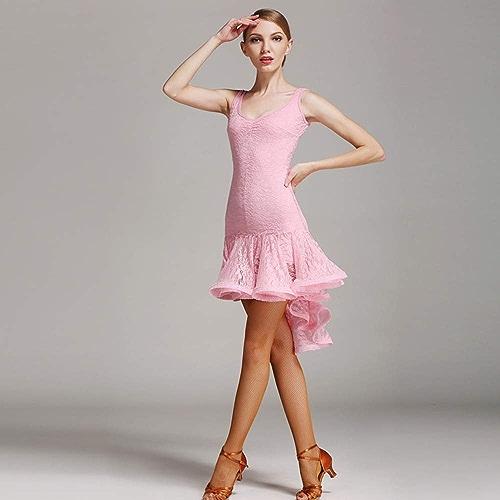 CPDZ Les Femmes des années 1920 Art déco Sequin Paisley clapet Pompon Glam Party Robes de Cocktail Rose Valse Moderne Tango Danse vêtements,S