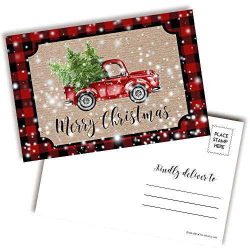 Red Plaid Snowy Pickup Truck Merry Christmas Blank Postcards To Send To Friends & Family, 4'x6' Fill In Notecards by AmandaCreation (20)