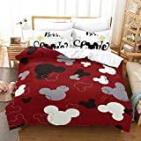 Satauly Cartoon Bedding Set Twin Size Mickey Mouse Duvet Cover Sets for Boys Girls 2 Pieces Mickey Minnie Comforter Sets Soft Bed Sets 1 Duvet Cover 1 Pillowcase, No Comforter Included