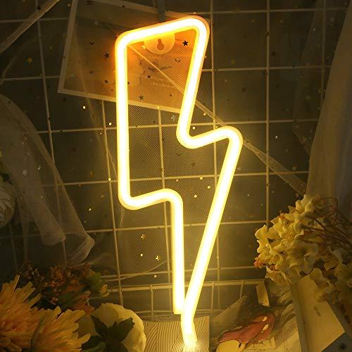 Blitz-Leuchtreklame für Wanddekoration, USB- oder Batteriedekor-LED-Schilder, Leuchtschilder Dekoratives Neonlichtschild für Zuhause, Weihnachten, Party, Kinderzimmer (warmweiß)