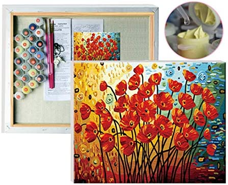 FramedPBN Paint by Numbers for Adults Wood Frame 13 4 X17 3 Paint by Number Kits Blooming Poppies product image
