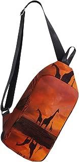 Crossbody Sling Backpack Giraffes Sunset Sky Chest Shoulder Bags Multipurpose for Men/Women
