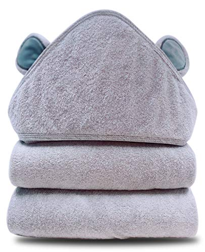 Baby Hooded Bath Towel - Organic Bamboo Super Absorbent Thick Baby Shower Towel Gift with Newbron - Premium Bamboo Animal Bear Baby Bath Towel for Boy and Girl - Ultra Soft Ultra Softtt - Grey