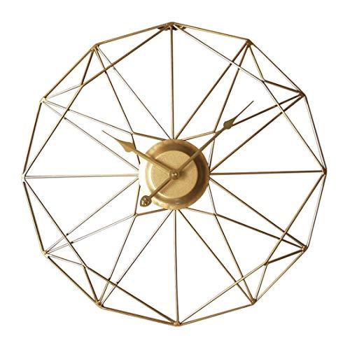 Jo332Bertram 3D 50cm Vintage Wanduhr Groß Wanduhr Uhr Metall Ohne Tickgeräusche Dekorative Wanduhr für Küche Wohnzimmer Büro - Golden
