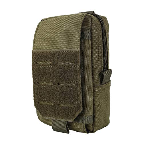 ZLDDE Durable 1000D 7' Tactical Pouch Bag Military Waist Belt Bag Outdoor Vest Pack Phone Case Backpack Accessory Pocket for Hunting Hiking Outdoors (Color : Green)