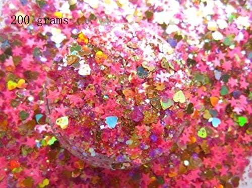 Gabcus wholesale G454 Laser latest Pink Color Holographic Star Glitter Heart Shap