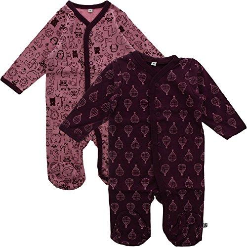 Pippi pak van 2 baby meisjes slaaptramper met opdruk, lange mouwen met voeten, leeftijd 1-2 maanden, maat: 56, kleur: lila, 3821