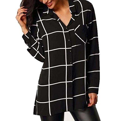 Preisvergleich Produktbild Xinan Damen Bluse Bluse Chiffon Langarm Shirt Tops (L,  Schwarz)