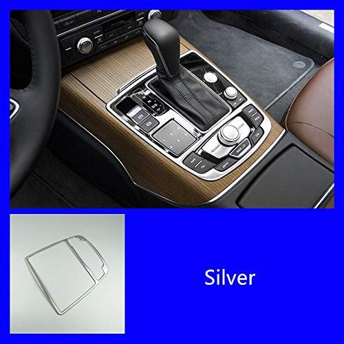 Pannello auto Navigation Console copertura aerea della cornice in fibra di carbonio Sticker ingranaggi strisce for Audi A6 C7 A7 2012-2018 Accessori Interni Accessorio ( Color Name : Gear silver )