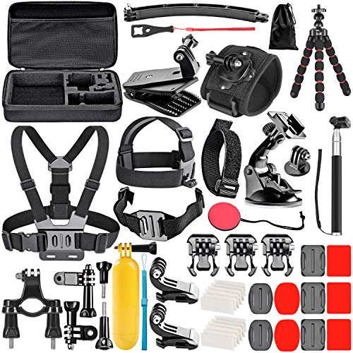 Neewer Upgraded 50-in-1 Action Camera Accessory Kit Compatible with GoPro Hero 8 Max 7 6 5 4 Black GoPro 2018 Session Fusion Silver White Insta360 DJI AKASO APEMAN Campark SJCAM Action Camera etc
